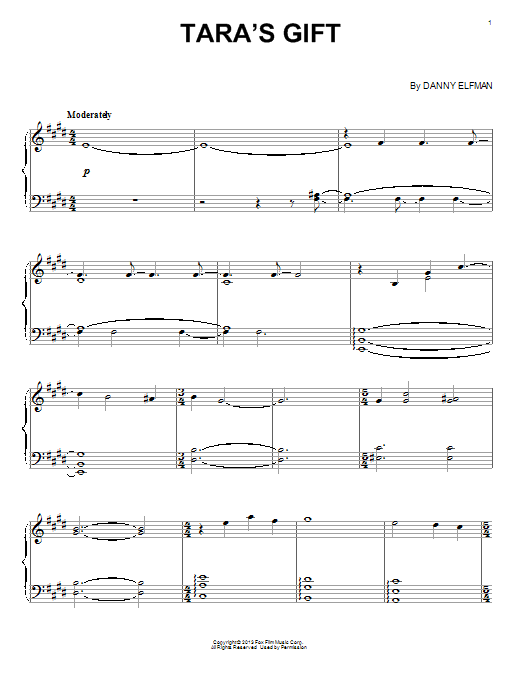 Download Danny Elfman 'Tara's Gift' Digital Sheet Music Notes & Chords and start playing in minutes