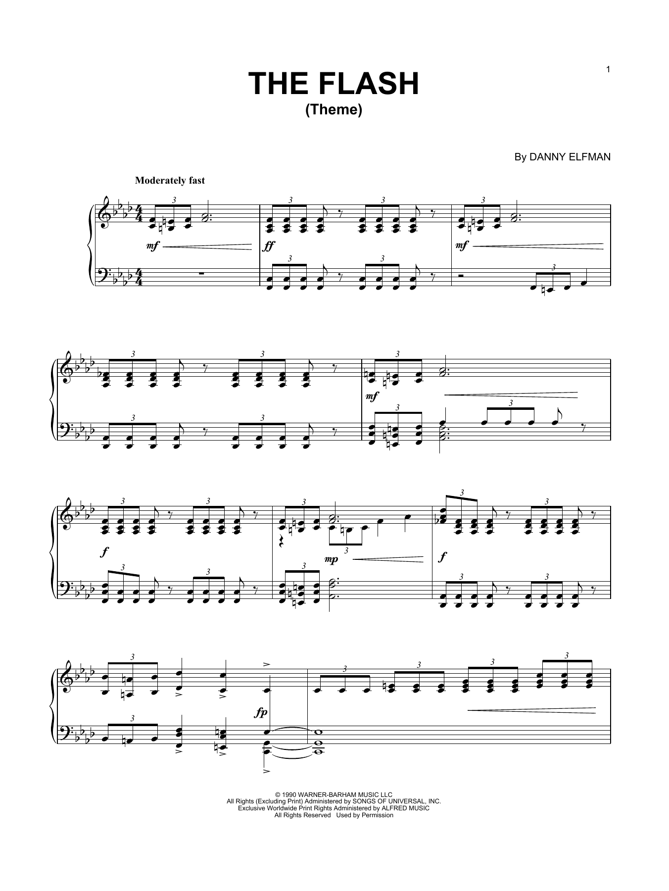 Download Danny Elfman 'Theme From The Flash' Digital Sheet Music Notes & Chords and start playing in minutes