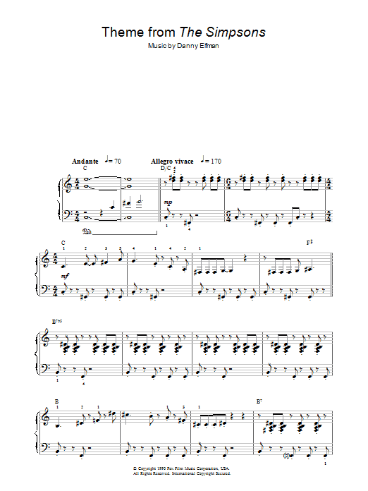 Danny Elfman Theme From The Simpsons sheet music preview music notes and score for Easy Guitar Tab including 4 page(s)