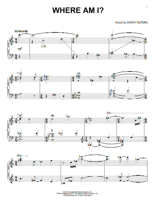 Download Danny Elfman 'Where Am I?' Digital Sheet Music Notes & Chords and start playing in minutes