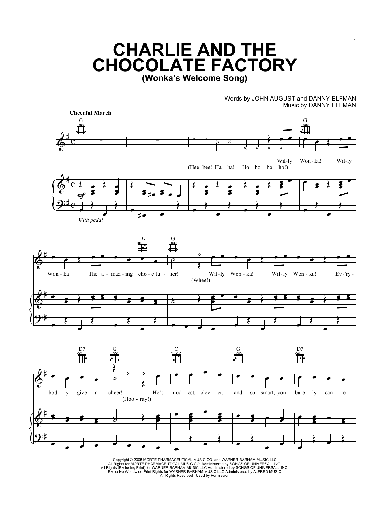 Download Danny Elfman 'Wonka's Welcome Song' Digital Sheet Music Notes & Chords and start playing in minutes
