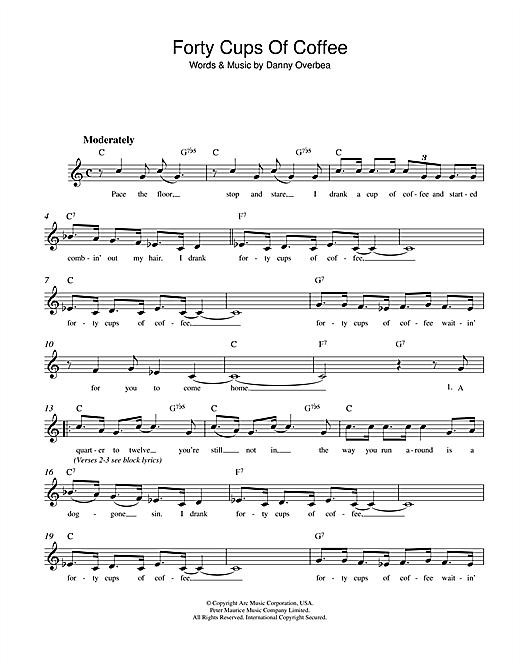 Danny Overbea Forty Cups Of Coffee sheet music notes and chords