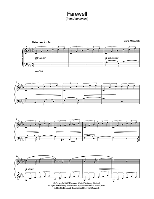 Download Dario Marianelli 'Farewell (from Atonement)' Digital Sheet Music Notes & Chords and start playing in minutes
