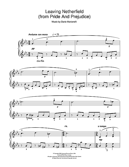 Download Dario Marianelli 'Leaving Netherfield (from Pride And Prejudice)' Digital Sheet Music Notes & Chords and start playing in minutes
