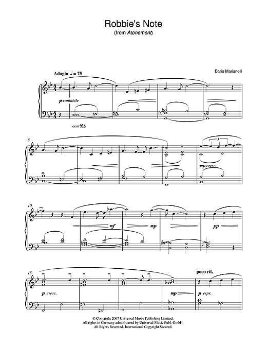 Download Dario Marianelli 'Robbie's Note (from Atonement)' Digital Sheet Music Notes & Chords and start playing in minutes