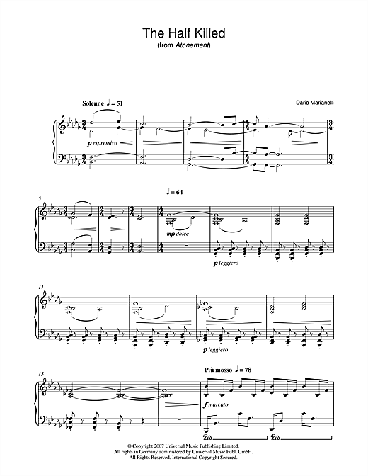 Download Dario Marianelli 'The Half Killed (from Atonement)' Digital Sheet Music Notes & Chords and start playing in minutes