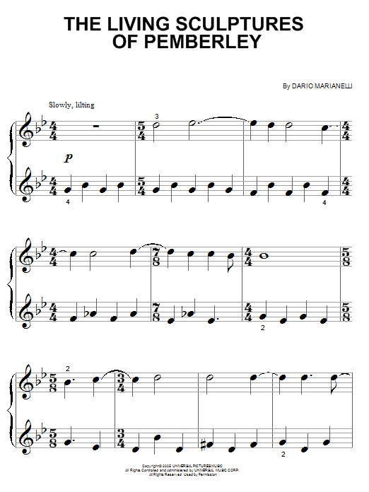 Download Dario Marianelli 'The Living Sculptures Of Pemberley' Digital Sheet Music Notes & Chords and start playing in minutes
