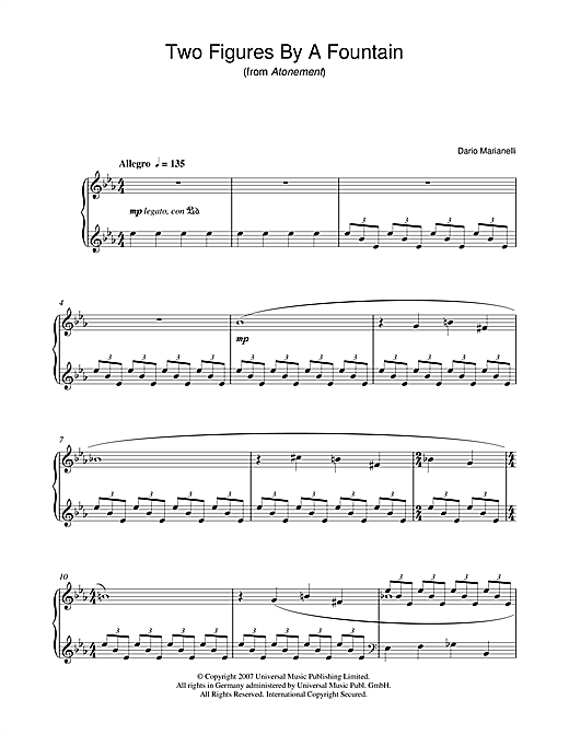 Download Dario Marianelli 'Two Figures By A Fountain (from Atonement)' Digital Sheet Music Notes & Chords and start playing in minutes