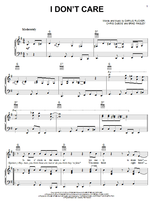 Darius Rucker I Don't Care sheet music preview music notes and score for Piano, Vocal & Guitar (Right-Hand Melody) including 7 page(s)