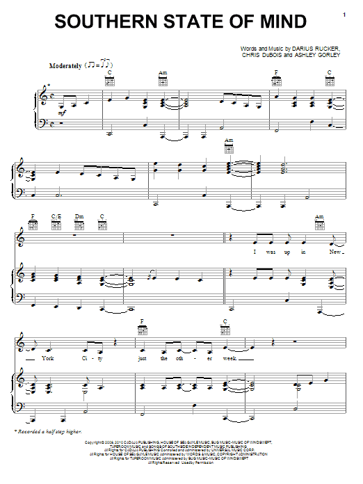 Darius Rucker Southern State Of Mind sheet music preview music notes and score for Piano, Vocal & Guitar (Right-Hand Melody) including 7 page(s)