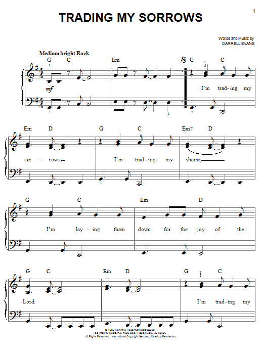 Darrell Evans Trading My Sorrows sheet music notes and chords