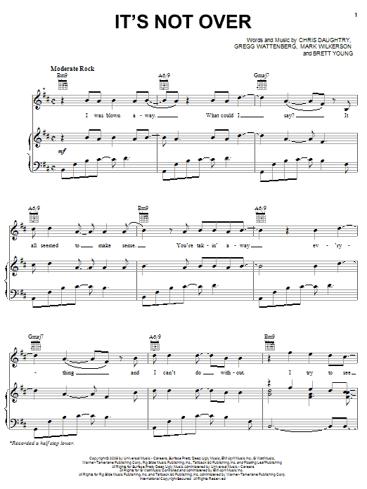 Daughtry It's Not Over sheet music preview music notes and score for Guitar Tab including 10 page(s)
