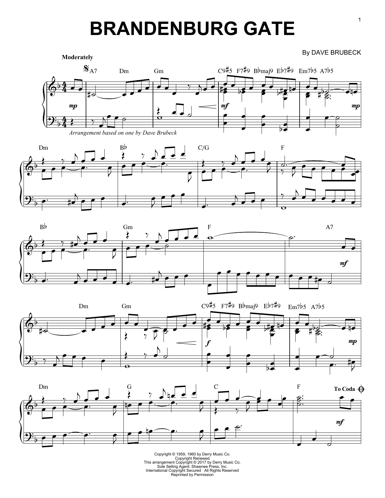 Dave Brubeck Brandenburg Gate sheet music notes and chords