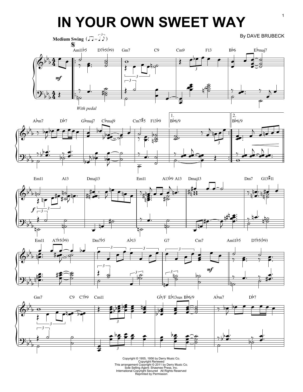 Download Dave Brubeck 'In Your Own Sweet Way' Digital Sheet Music Notes & Chords and start playing in minutes