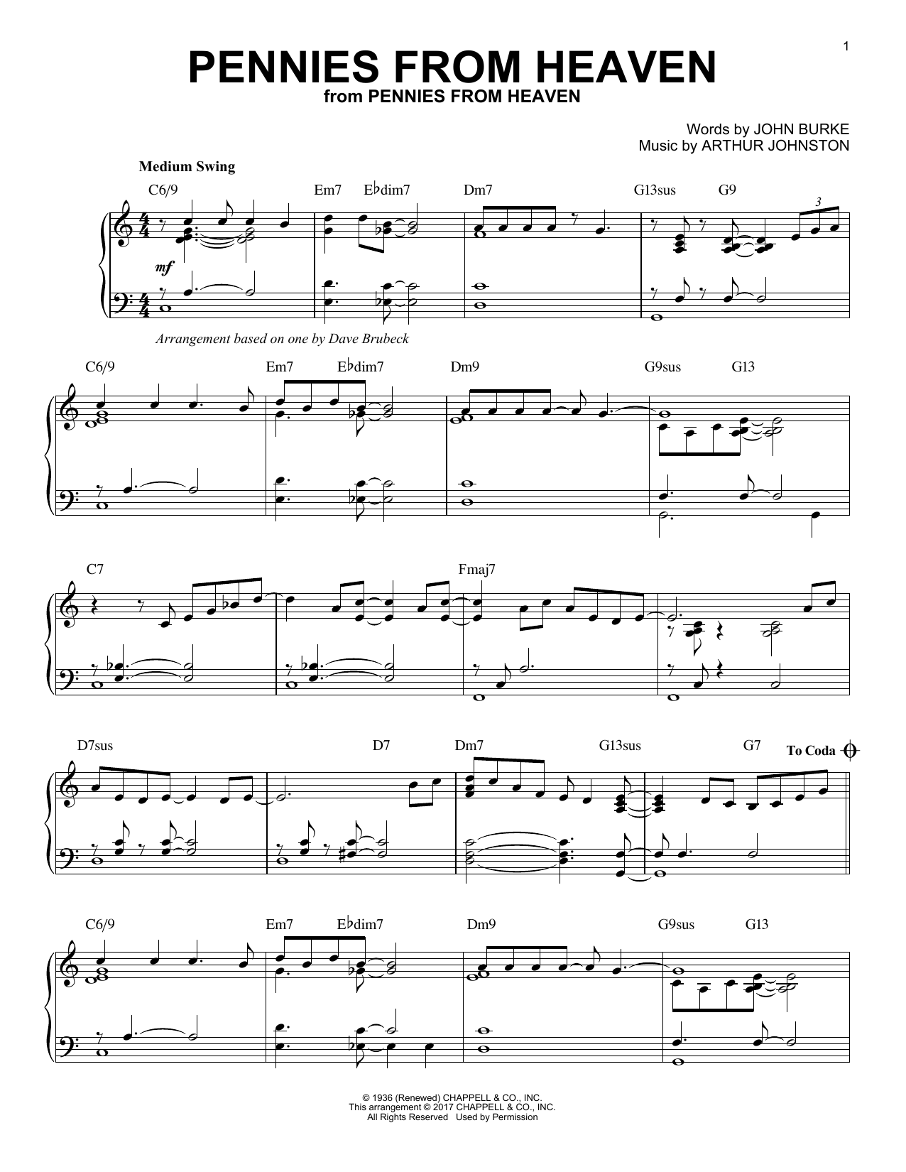 Download Dave Brubeck 'Pennies From Heaven' Digital Sheet Music Notes & Chords and start playing in minutes