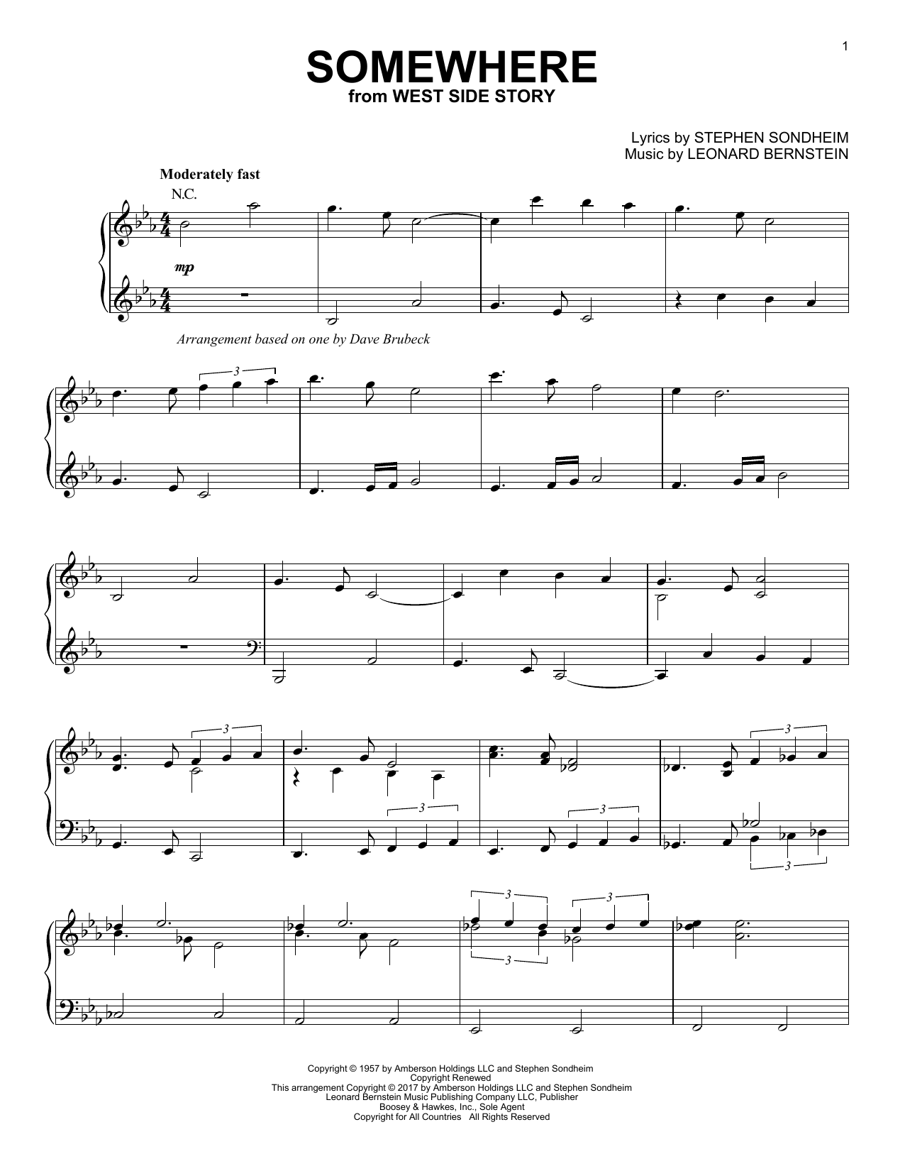Download Dave Brubeck 'Somewhere' Digital Sheet Music Notes & Chords and start playing in minutes