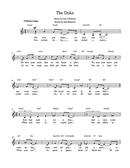 Download Dave Brubeck 'The Duke' Digital Sheet Music Notes & Chords and start playing in minutes
