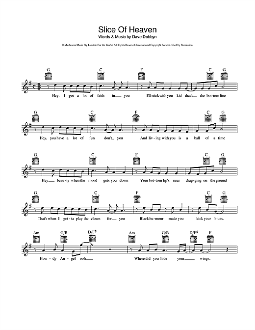 Dave Dobbyn Slice Of Heaven sheet music preview music notes and score for Melody Line, Lyrics & Chords including 2 page(s)