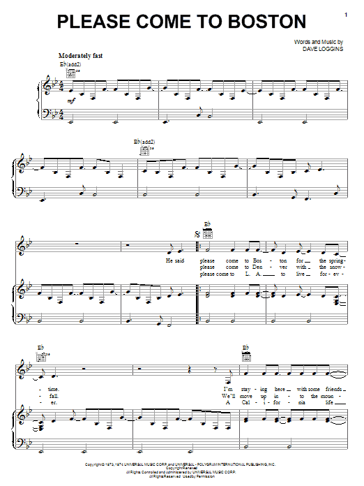 Dave Loggins Please Come To Boston sheet music preview music notes and score for Lyrics & Chords including 3 page(s)