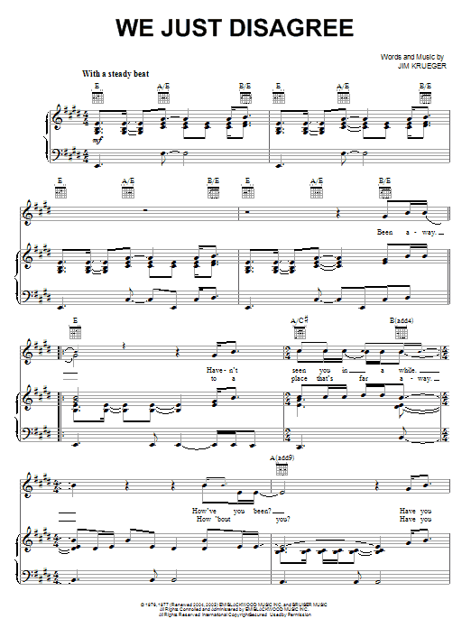 Dave Mason We Just Disagree sheet music preview music notes and score for Lyrics & Chords including 2 page(s)
