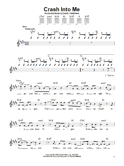 Dave Matthews Band Crash Into Me sheet music preview music notes and score for Guitar with strumming patterns including 5 page(s)