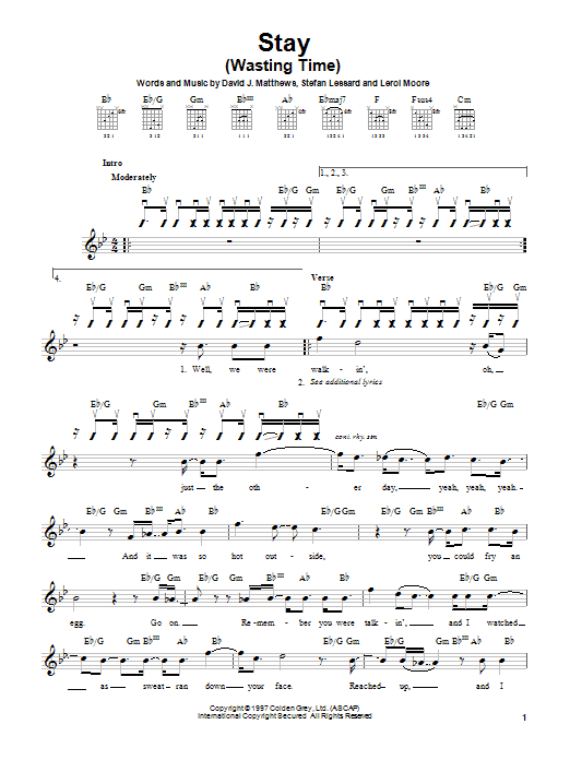 Dave Matthews Band Stay (Wasting Time) sheet music preview music notes and score for Easy Guitar including 5 page(s)