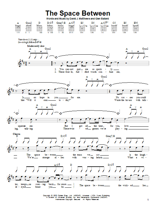 Dave Matthews Band The Space Between sheet music preview music notes and score for Guitar with strumming patterns including 3 page(s)