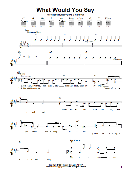 Dave Matthews Band What Would You Say sheet music preview music notes and score for Guitar with strumming patterns including 3 page(s)