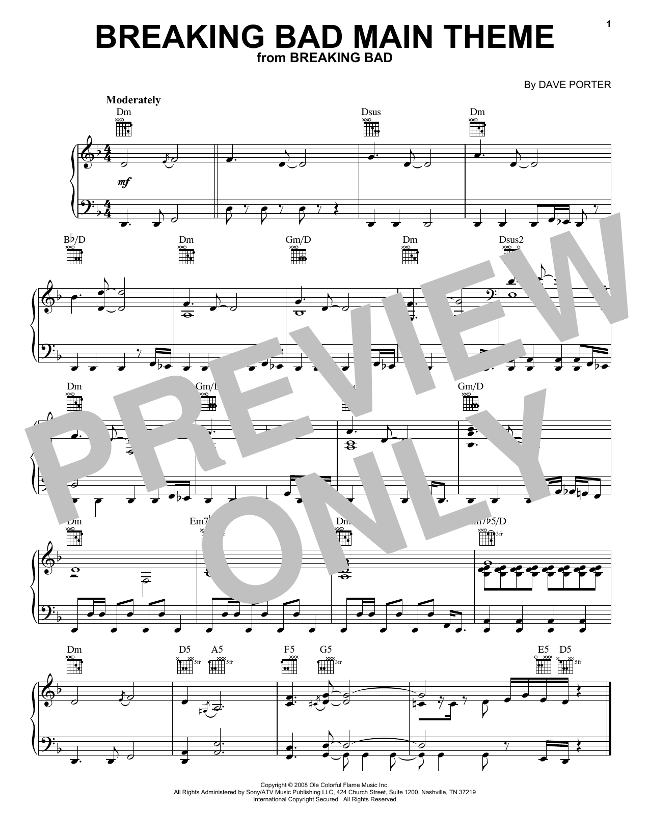 Download Dave Porter 'Breaking Bad Main Theme' Digital Sheet Music Notes & Chords and start playing in minutes