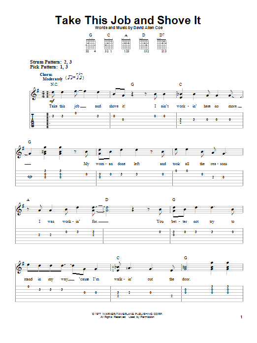 David Allan Coe Take This Job And Shove It sheet music preview music notes and score for Easy Guitar Tab including 3 page(s)