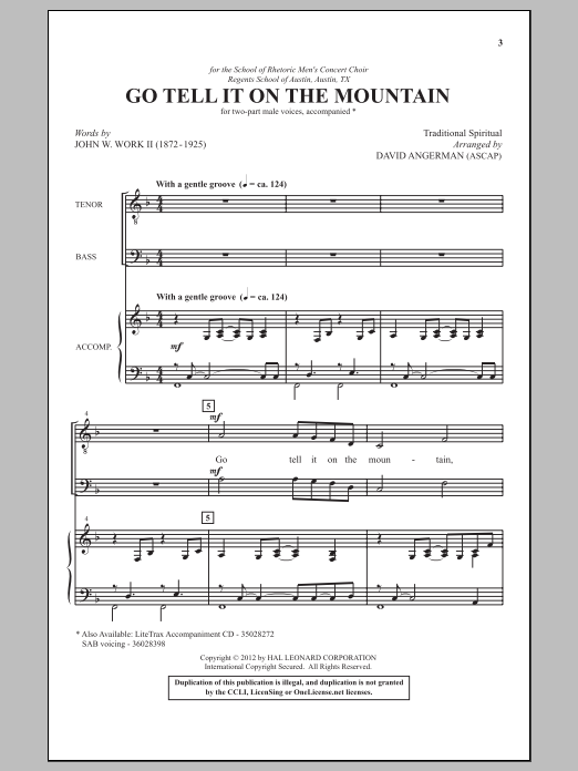 Download David Angerman 'Go, Tell It On The Mountain' Digital Sheet Music Notes & Chords and start playing in minutes