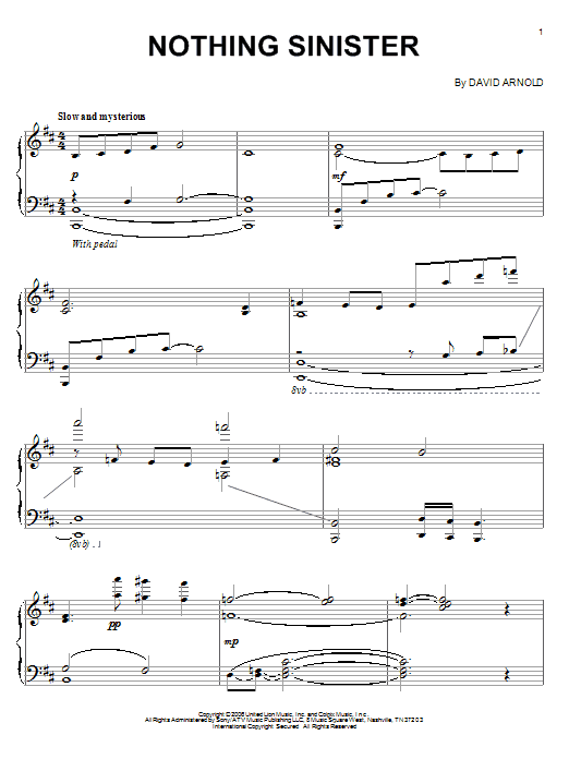 Download David Arnold 'Nothing Sinister' Digital Sheet Music Notes & Chords and start playing in minutes