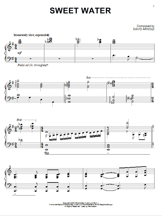 Download David Arnold 'Sweet Water' Digital Sheet Music Notes & Chords and start playing in minutes
