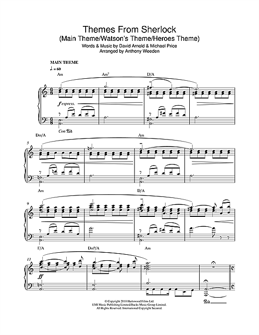 Download David Arnold & Michael Price 'Themes From Sherlock (Main Theme/Watson's Theme/Heroes Theme)' Digital Sheet Music Notes & Chords and start playing in minutes