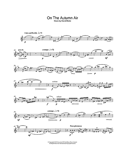 Download David Blake 'On The Autumn Air' Digital Sheet Music Notes & Chords and start playing in minutes