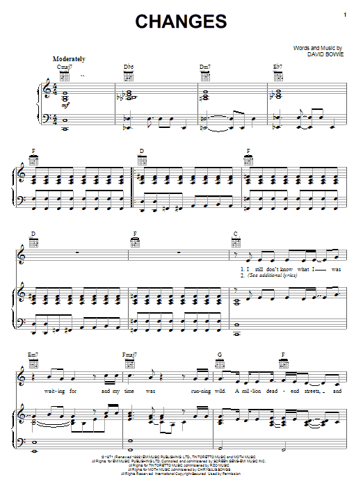 David Bowie Changes sheet music notes and chords