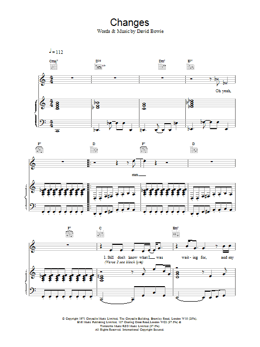 David Bowie Changes sheet music preview music notes and score for Lyrics & Chords including 4 page(s)