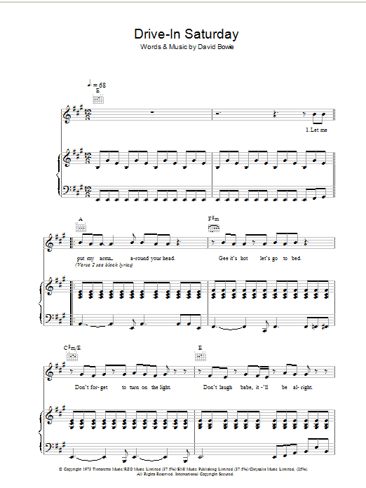David Bowie Drive-In Saturday sheet music preview music notes and score for Violin including 6 page(s)