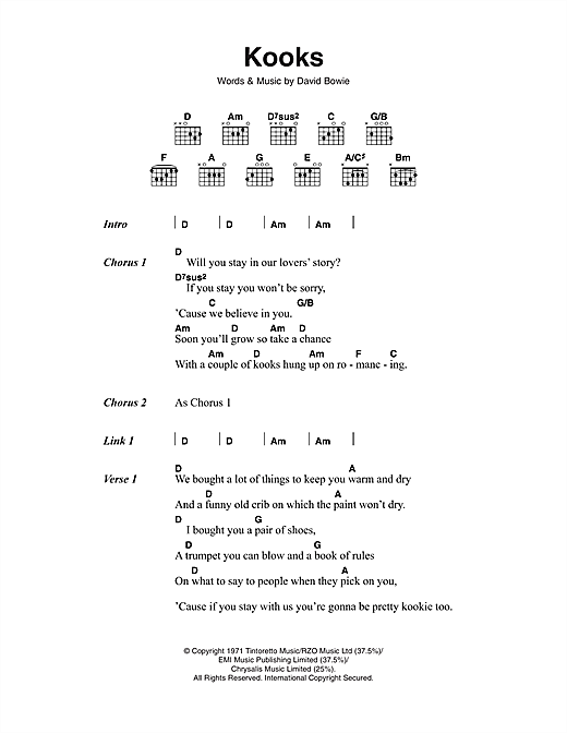 David Bowie Kooks sheet music notes and chords
