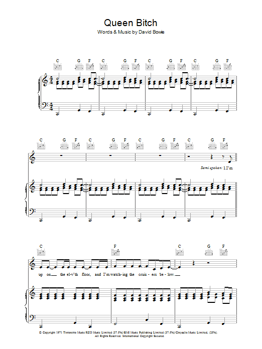 David Bowie Queen Bitch sheet music preview music notes and score for Piano, Vocal & Guitar including 10 page(s)