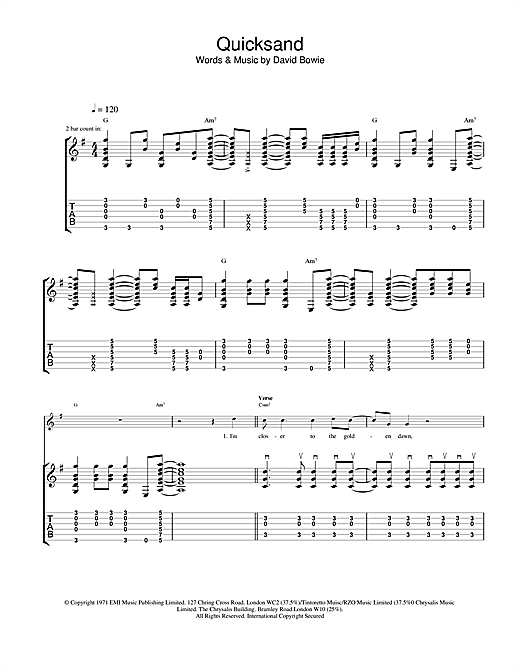 David Bowie Quicksand sheet music notes and chords