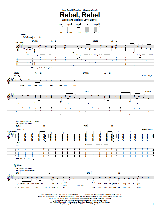 David Bowie Rebel, Rebel sheet music preview music notes and score for Guitar Tab including 6 page(s)