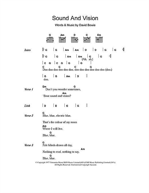 David Bowie Sound And Vision sheet music notes and chords