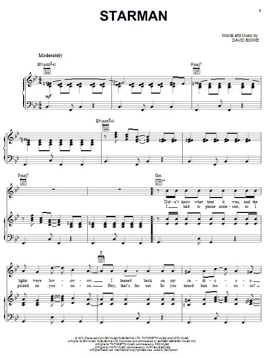 David Bowie Starman sheet music notes and chords