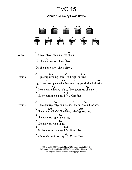 David Bowie TVC 15 sheet music notes and chords