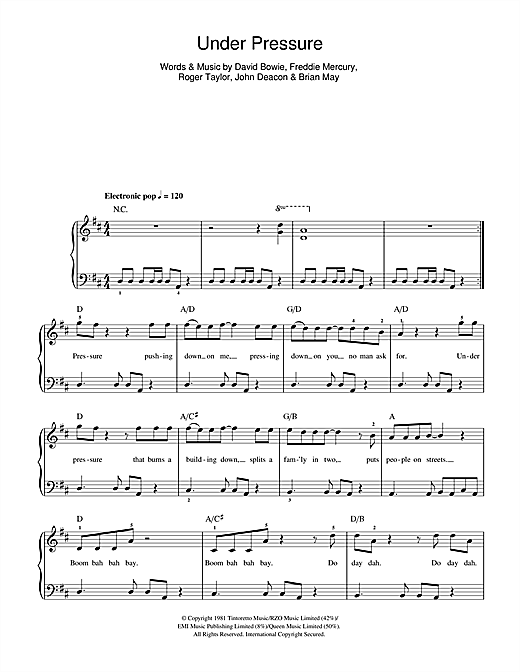David Bowie & Queen Under Pressure sheet music preview music notes and score for Beginner Piano including 2 page(s)