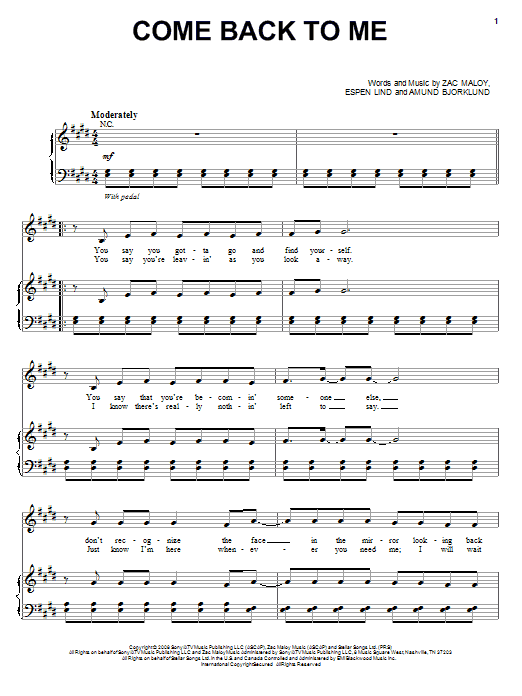 David Cook Come Back To Me sheet music preview music notes and score for Piano, Vocal & Guitar (Right-Hand Melody) including 8 page(s)