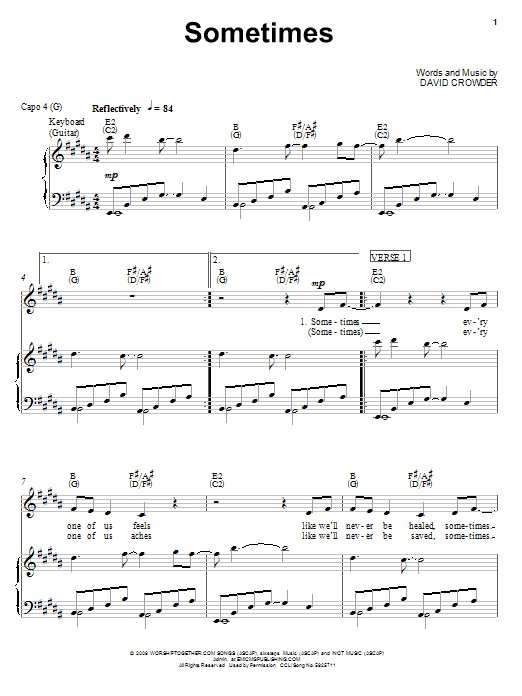 David Crowder Band Sometimes sheet music notes and chords