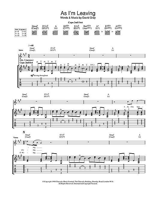 David Gray As I'm Leaving sheet music notes and chords