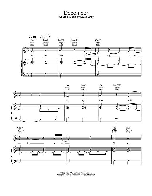 David Gray December sheet music notes and chords